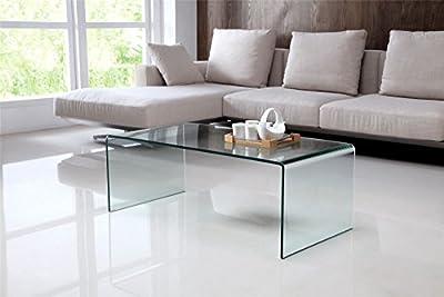 Nova Modern Bent Clear Glass Coffee Table (110 x 55 x 40 cm)