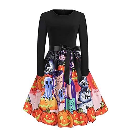 Floweworld Damenkleider 50er Jahre Vintage Kleid Halloween Mode Langarm Kürbis Gedruckt Formal Party Abendkleid mit Gürtel Cocktailkleider -