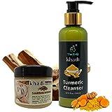 Khadi Natural Herbal Sandalwood Face Pack 150 gm + The EnQ KHADI Turmeric MIRACLE Cleanser 200 ml