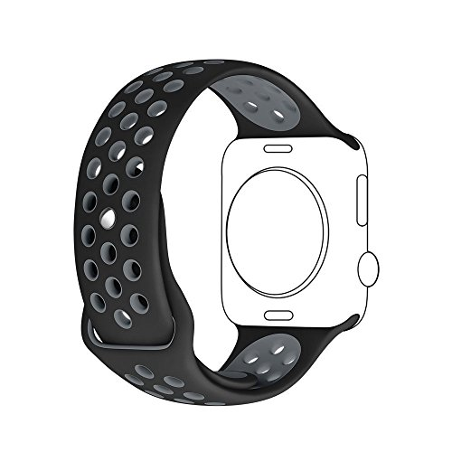Apple Watch Cinturino, Sanday Morbido Silicone Sostituzione Sport Banda Strap Band per Apple Watch Nike+,Series 1/Series 2,38MM M/L Nero/Grigio