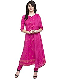 Haute Curry By Shoppers Stop Womens Tie Up Neck Printed Churidar Suit