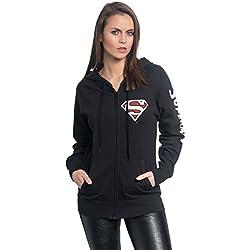Superman Red Logo Chaqueta con capucha Mujer Negro M