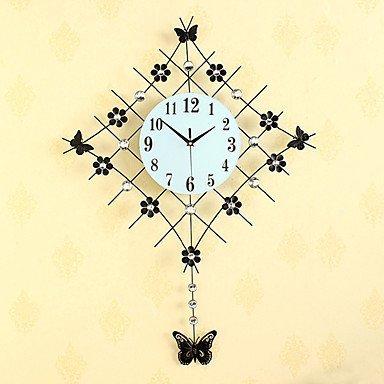 YHEGV Modern Fashion Diamond Pendel mit Eisen Mute Wanduhr, schwarz