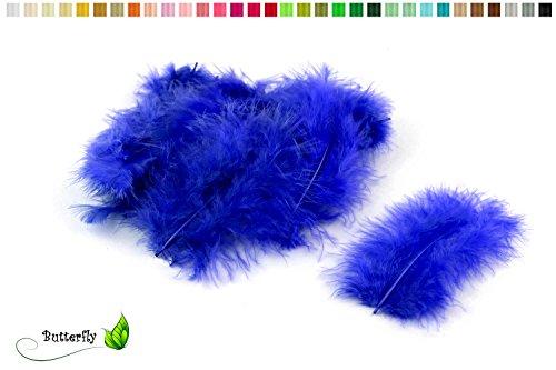 20 Flaumfedern 8-12cm ( blau 352 / königsblau / royalblau ) // Marabufedern Bastelfedern Hühnerfedern Dekofedern Schmuckfedern Federn