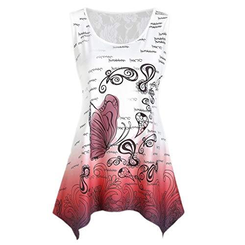 iHENGH Damen Top Bluse Bequem Lässig Mode T-Shirt Sommer Blusen Frauen Ärmelloses Damen Lace Panel Butterfly Print Tank Top Lässiges T-Shirt Bluse(Rot, L) -