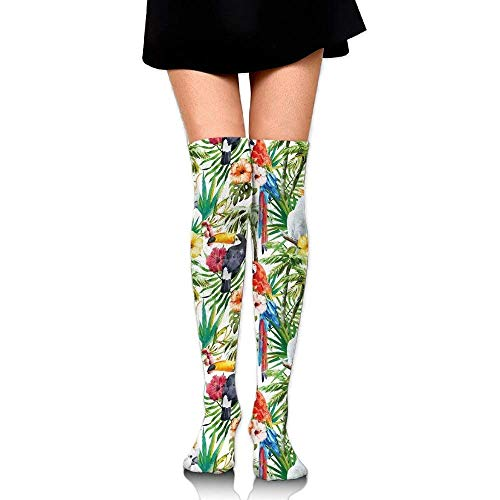 OQUYCZ Women Tropical Animals Toucans and Yellow Crested Cockatoo in The Jungle Popular High Boot Socks