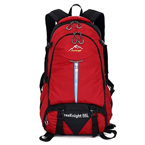 AllureFeng Outdoor wasserdicht und reißfest Wandern Tasche Sport Rucksack-leuchtende Farben für Männer und Frauen 55L Rucksack Red