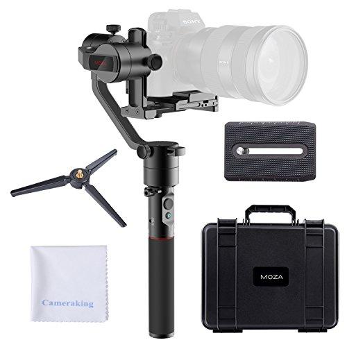 MOZA AirCross Estabilizador de cardán manual de 3 ejes + Mini trípode 12 horas de tiempo de ejecución con fuente de alimentación inteligente para cámaras sin espejo Serie Sony Alpha A7, Serie Panasoni
