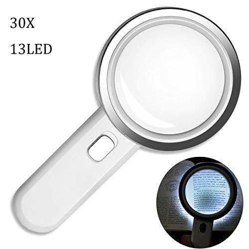 Lese Vergrößerungsglas mit 13 Led Licht 30X Handlupe Beleuchtet zum Lesen,125mm groß Verzerrungsfreier Leselupe mit Doppelglaslinse für Senioren, Handwerk, karten,Prüfen,juwelier, Kleingedruckten
