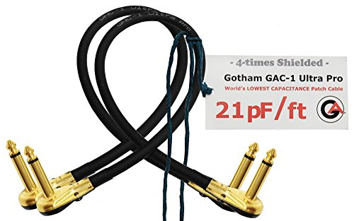 2Einheiten–Gotham gac-1Ultra Pro–2Fuß (60cm)–low-cap (21PF/FT) Gitarre Bass Effekte Instrument, Patch Kabel mit vergoldeten, Low-Profile, rechts abgewinkelt Pancake Typ TS (6,35mm) Anschlüsse