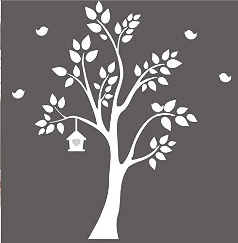 Weiß Wandaufkleber Baum Flying Birds Baum Wandsticker für Kinder Schlafzimmer Baby Dusche Wand Decor (Flying Birds Home Decor)