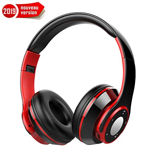 Hieha Casque Bluetooth sans Fil, Casque Mains Libres 4-en-1 Pliable, Micro Intégrée Bluetooth Casques pour Musique Mobile et MP3, Casque Pliable pour iPhone et Android