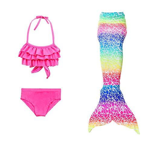 JoyChic Meerjungfrau zum Schwimmen Meerjungfrauen Bikini Set Badeanzüge Badenbkleidung Kostüm Meerjungfrauenflosse für Mädchen Monoflosse Inkl, Style 3, 110-120cm (Passende Kostüm Für Drei Mädchen)