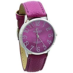 Mondex / Azaza / MABZ Ladies Silver Plated PU Leather Strap Watch (Fuchsia Strap With Fuchsia Dial)