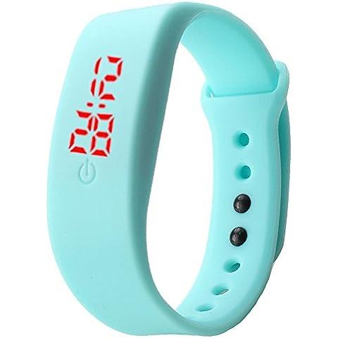 Sannysis® Goma Reloj LED Fecha Deportes pulsera; Digital reloj de pulsera (Azul Cielo)