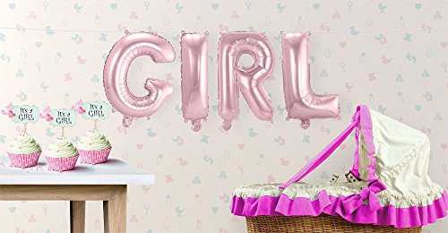 "Preisvergleich Produktbild Buchstaben-Girlande Folienballons ""Girl"" - Rosa - H: 36 cm"