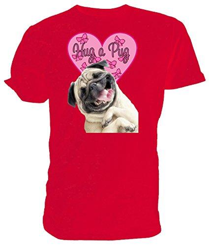 Hug a Pug - Maglietta con stampa carlino Red