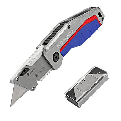 WORKPRO Schnellwechsel Universalmesser Cutter Klappmesser mit 10 Klingen Aluminium Griff