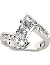 Naitik Jewels 925 Sterling Silver Emerald Cut Diamond Engagement Ring For Women