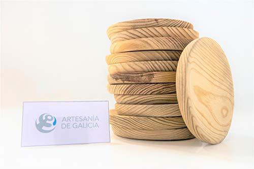Set 12 Platos Pulpo Artesanos Sam, Madera, Natural, Beige, Ø 18 cm. Incluye Imán de Regalo Personalizable.