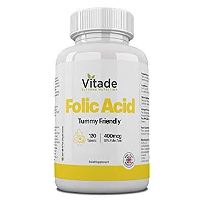 Premium Folic Acid Tablets - Great For Pregnancy - 120 Tablets - 400 mcg - 4 Month Supply by Vitade from Vitade