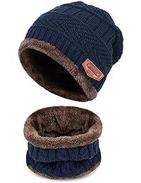 Petrunup Ensemble Bonnet et Écharpe en Tricot d hiver pour Enfant 2 Pièces  Bonnet de c67261fa101