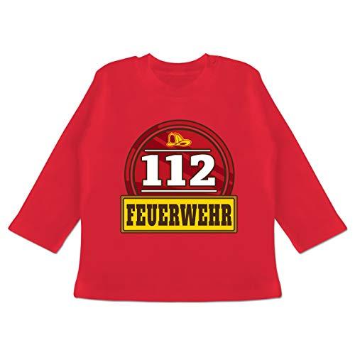 Karneval und Fasching Baby - 112 Feuerwehr Abzeichen - 6/12 Monate - Rot - BZ11 - Baby T-Shirt Langarm