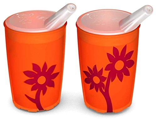 Ornamin Becher mit Anti-Rutsch Blume 220 ml orange/rot und Schnabelaufsatz 2er-Set (Modell 820 + 806) / Schnabelbecher, Trinkbecher, Kinderbecher
