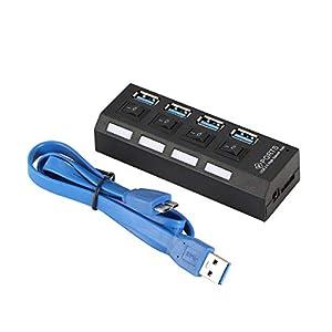 Heaviesk 4-Port USB 3.0 Hub Hochgeschwindigkeits-Stromversorgung mit Adapter und unabhängigen Schaltern LED-Anzeigelampe für Game Pc Smart TV
