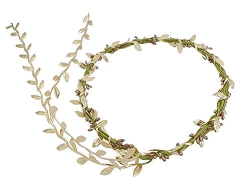 Merroyal Women's BOHO Headband Flower Crown Festival Wedding Beach Hair Wreath ((B)Gold)