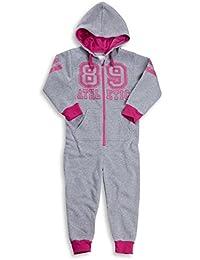 Childrens Athletic Onesie All In One Hooded Fleece Nightwear Girls Kids Soft