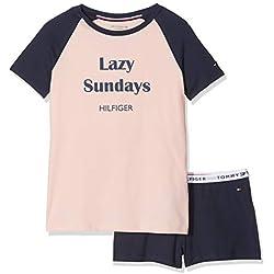 Tommy Hilfiger Girl's Ss Short Set Rgl Pyjama (Seashell Pink/Navy Blazer 037), 164 (Size: 12-14)
