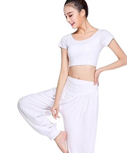 Sentao Donna Abbigliamento sportivo Yoga Suit Respirabile Maglietta Tops Moda Danza Pantaloni di Yoga Set Bianca