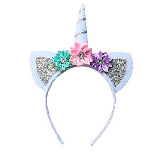 Blue Vessel Halloween Einhorn Kopfschmuck Kinder Stirnbänder Prinzessin Einhorn-Geburtstags-Party Kopf Schnalle (silber) (Halloween-stirnbänder)