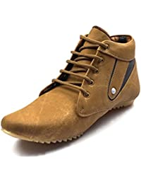 Ziyy Men's Tan Artificial Leather Boots (ZLS436) - 8 UK