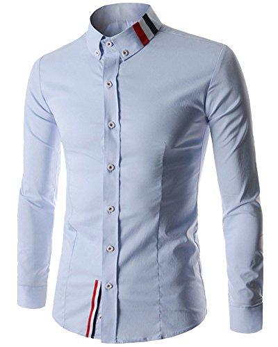 Chemise Manches Longues Homme Casual Slim Fit Shirt Tops 8749 Bleu Clair