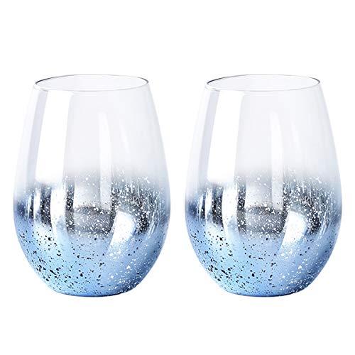 PFLife Trinkglas großer Becher 500ml, Sternennacht 2er Wassergläser aus Bleifreies Handgefertigtes, Cocktailglas, Ideal für alle Kaltgetränke (Blau, 500ml / 17.5oz)