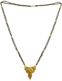 DollsofIndia Gold Plated Mangalsutra - Necklace - 25 Inches, Pendant - 1.5 Inches (RB91-mod) - Black, Golden