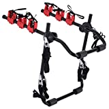 HOMCOM Foldable 3 Bike Carrier Rear Hitch Mount Bicycle Rack W/Straps Car Trunk