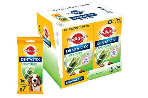 Pedigree Dentastix Fresh Snack per la Igiene Orale (Cane Medio 10-25 kg) 180 g 7 Bastoncini - 10 Pacchetti (70 Bastoncini in totale)