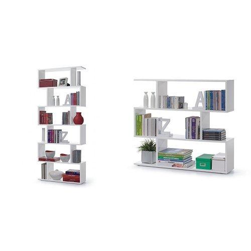 Links - kafka a8 libreria. dim. 80x25x192h & a5 libreria. dim. 110x25x97h - melamina bianco lucido