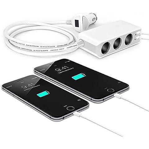 YOTOSAN 3Socket Adaptador de mechero divisor con 4,8A 2puertos USB de carga rápida cargador de coche para iPhone, smartphones Android, Tablets y MP3y más