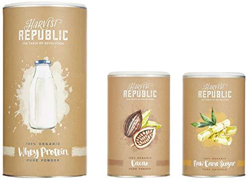 HARVEST REPUBLIC Protein-Shake-Kit, 1x Bio-Whey Protein, 1x Bio-Kakaopulver, 1x Bio-Rohrzucker -