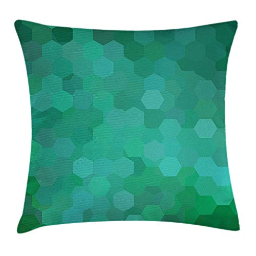 DFBRV Jade Green Throw Pillow Cushion Cover, Hexagonal Mosaic Arrangement Grid Style Green Colored Pattern, Decorative Square Accent Pillow Case, 18 X 18 inches, Pale Sea Green Jade Green