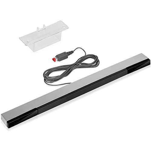 Fosmon - Sensore di ricambio con fili per Nintendo Wii / Wii U, colore: Argento/Nero