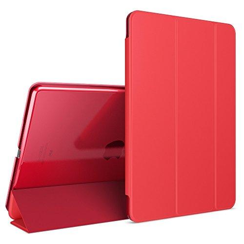 patibel mit iPad Air 1, Ultra-Slim Cover Dünne Tablet Schutzhülle, Kunst-Leder Hardcase Multi-Ständer Tasche, Display-Schutz & Backcover Flip-Case Klapphülle Sleeve - Rot ()