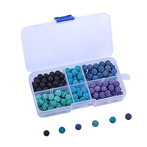HooAMI Une Boîte de Perles Coloré En Pierre Volcanique Accessoire de Bijoux DIY Pour Création de Collier Bracelet Prière (Environ 200pcs )