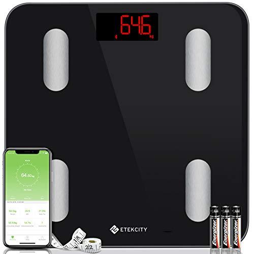 ETEKCITY Báscula Grasa Corporal Bluetooth, Báscula de Baño Digital, Peso Corporal Inteligente con Pantalla Super Grande (300*300*25 mm), para iOS y Android, Pantalla LED, 180 kg, Negro ESF24