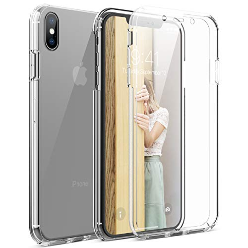 CE-Link Kompatibel mit iPhone X Hülle iPhone XS Hülle 360 Grad Crystal Clear Transparent Hüllen mit Integriertem Displayschutz Silikon und PC Handyhülle Schutzhülle für iPhone X / XS Durchsichtige Crystal Clear Hard Case