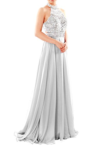 MACloth Women Halter High Neck Sleeveless Long Prom Party Dress Evening Gown white